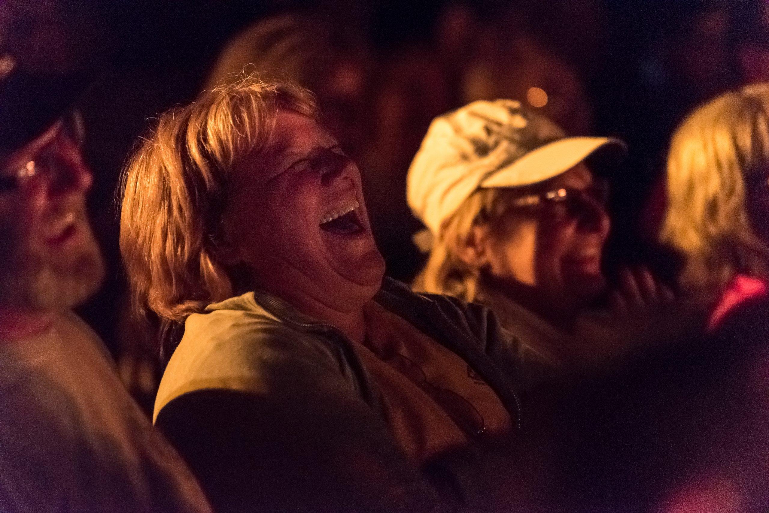 Laughing audience member